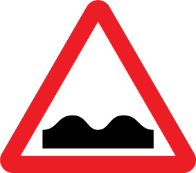Traffic sign of United Kingdom: Warning for a bad road surface