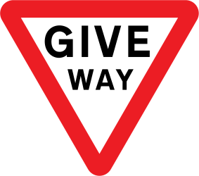 Traffic sign of United Kingdom: Give way to all drivers