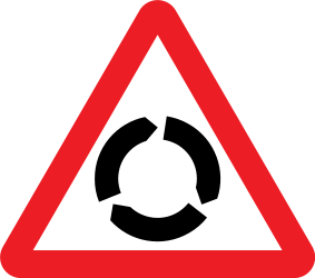 Traffic sign of United Kingdom: Warning for a roundabout