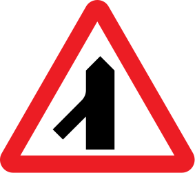 Traffic sign of United Kingdom: Warning for a crossroad with a sharp side road on the left