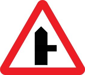Traffic sign of United Kingdom: Warning for side road on the right