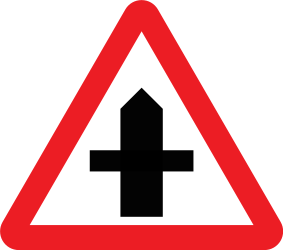 Traffic sign of United Kingdom: Warning for a crossroad side roads on the left and right