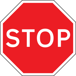 Traffic sign of United Kingdom: Stop and give way to all drivers