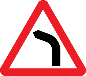 Traffic sign of United Kingdom: Warning for a curve to the left