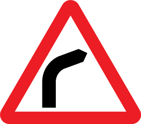 Traffic sign of United Kingdom: Warning for a curve to the right