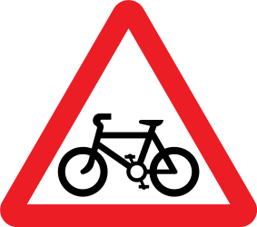 Traffic sign of United Kingdom: Warning for cyclists