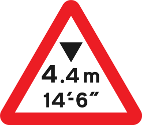 Traffic sign of United Kingdom: Warning for a limited height