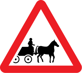Traffic sign of United Kingdom: Warning for horse carts
