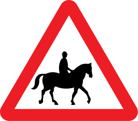 Traffic sign of United Kingdom: Warning for equestrians