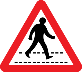 Traffic sign of United Kingdom: Warning for a crossing for pedestrians