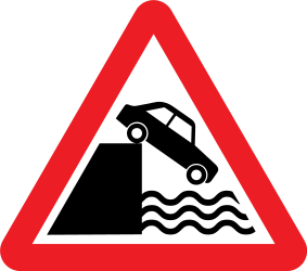 Traffic sign of United Kingdom: Warning for a quayside or riverbank