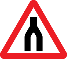 Traffic sign of United Kingdom: Warning for two roads that merge
