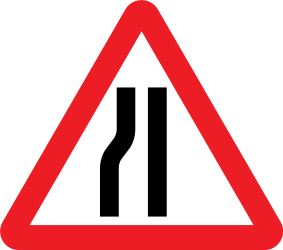 Traffic sign of United Kingdom: Warning for a road narrowing on the left