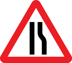 Traffic sign of United Kingdom: Warning for a road narrowing on the right