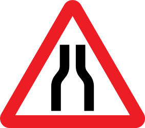 Traffic sign of United Kingdom: Warning for a road narrowing