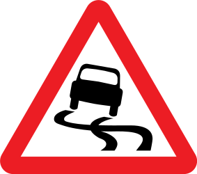 Traffic sign of United Kingdom: Warning for a slippery road surface