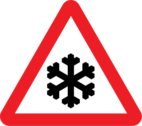 Traffic sign of United Kingdom: Warning for snow and sleet