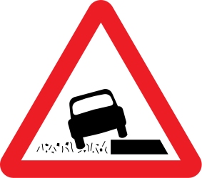 Traffic sign of United Kingdom: Warning for a soft verge