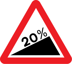 Traffic sign of United Kingdom: Warning for a steep ascent
