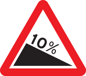 Traffic sign of United Kingdom: Warning for a steep descent
