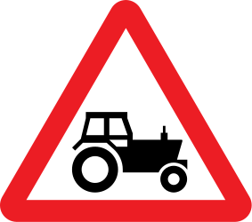 Traffic sign of United Kingdom: Warning for tractors