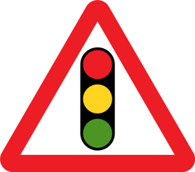 Traffic sign of United Kingdom: Warning for a traffic light