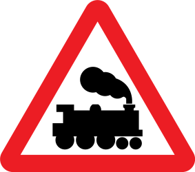 Traffic sign of United Kingdom: Warning for a railroad crossing without barriers