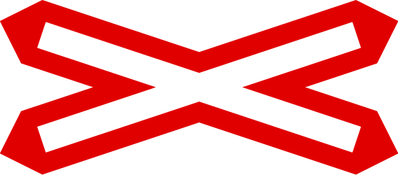Traffic sign of United Kingdom: Warning for a railroad crossing with 1 railway