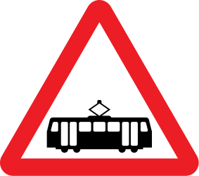Traffic sign of United Kingdom: Warning for trams