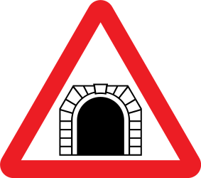 Traffic sign of United Kingdom: Warning for a tunnel