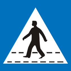 Traffic sign of Greece: Crossing for pedestrians