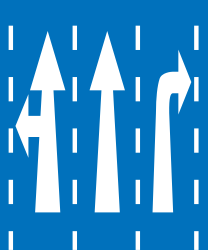 Traffic sign of Greece: Overview of the lanes and their direction