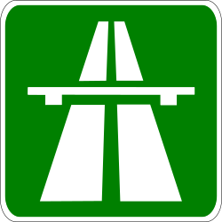 Traffic sign of Greece: Begin of a motorway