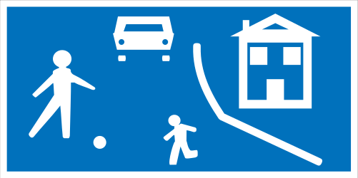 Traffic sign of Greece: Begin of a residential area