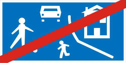 Traffic sign of Greece: End of the residential area