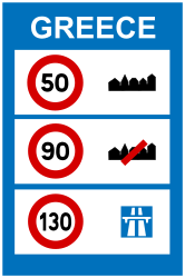 Traffic sign of Greece: National speed limits