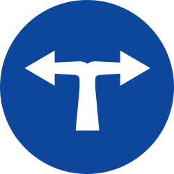 Traffic sign of Greece: Turning left or right mandatory