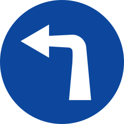 Traffic sign of Greece: Turning left mandatory
