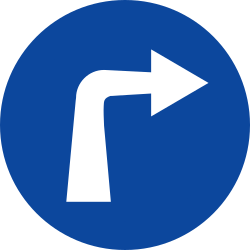 Traffic sign of Greece: Turning right mandatory
