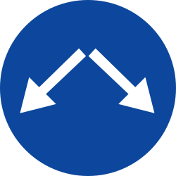 Traffic sign of Greece: Passing left or right mandatory