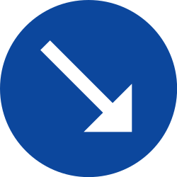 Traffic sign of Greece: Passing right mandatory