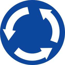 Traffic sign of Greece: Mandatory direction of the roundabout
