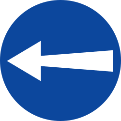 Traffic sign of Greece: Mandatory left