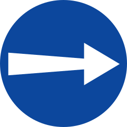 Traffic sign of Greece: Mandatory right