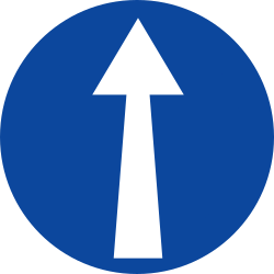 Traffic sign of Greece: Driving straight ahead mandatory