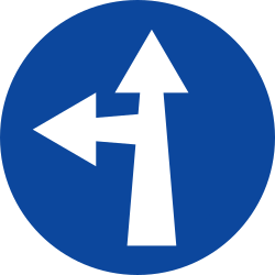 Traffic sign of Greece: Driving straight ahead or turning left mandatory