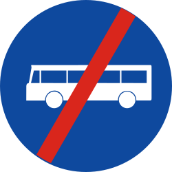 Traffic sign of Greece: End of the lane for buses