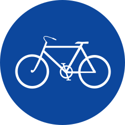 Traffic sign of Greece: Mandatory path for cyclists
