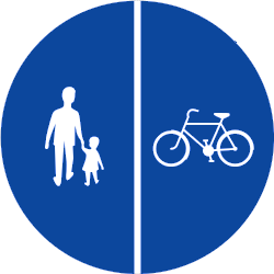 Traffic sign of Greece: Mandatory divided path for pedestrians and cyclists