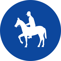 Traffic sign of Greece: Mandatory path for equestrians